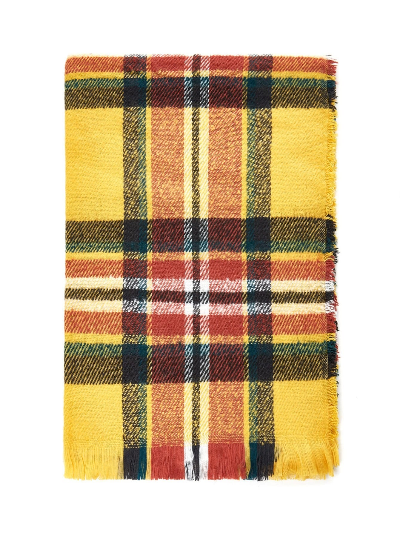 Frayed Trim Plaid Scarf все цены