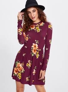 Open Back Botanical Smock Dress