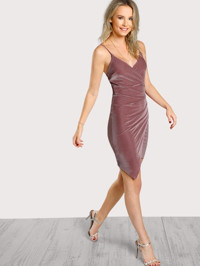 Ruched Overlap Cami Dress