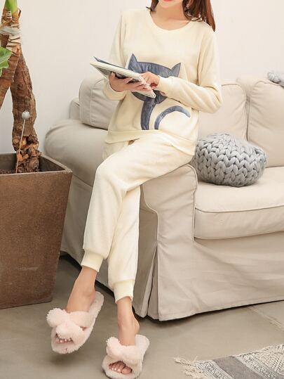 Cat Embroidered Plush Pullover & Pants Pj Set