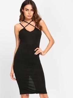Crisscross Slit Back Fitted Cami Dress