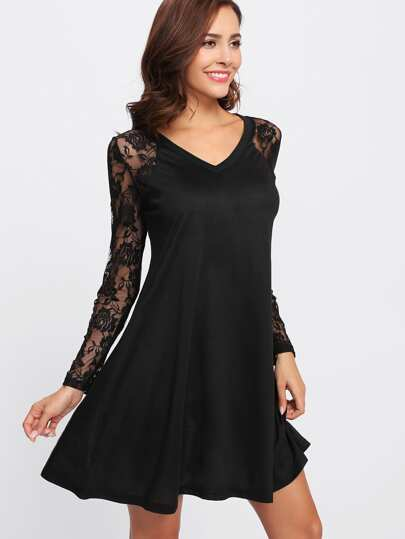 V Neckline Raglan Lace Sleeve Swing Dress