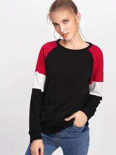 Cut And Sew Raglan Sleeve Pullover