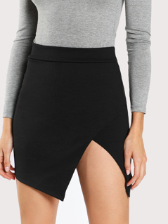 Solid Overlap Bodycon Skirt