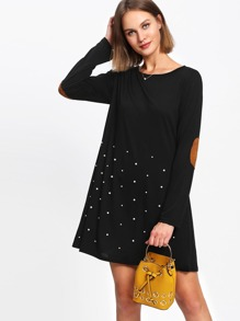 Pearl Beading Elbow Patch Tee Dress