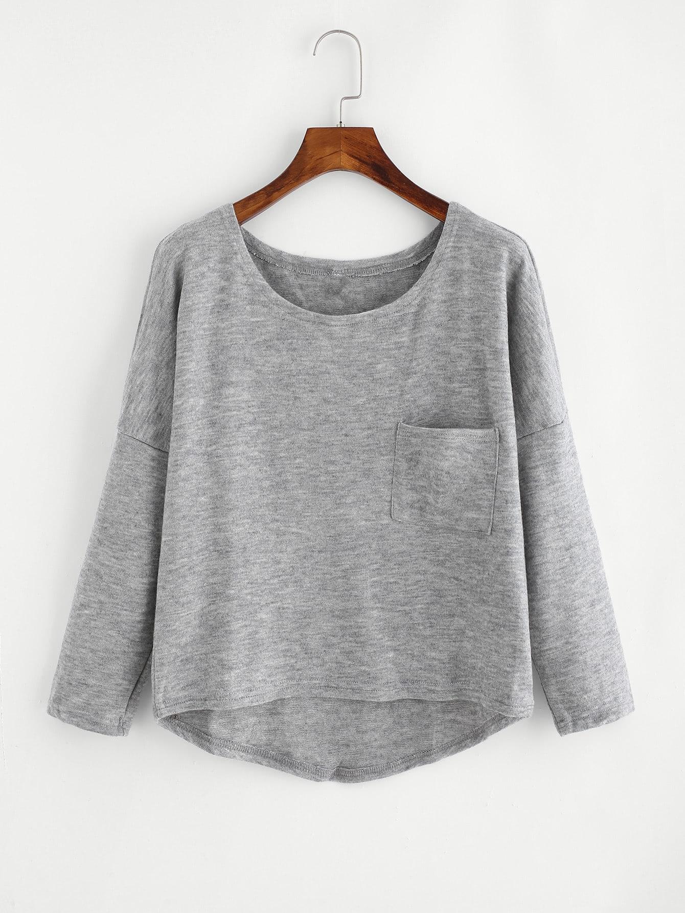 Drop Shoulder High Low Jumper two tone drop shoulder sweatshirt