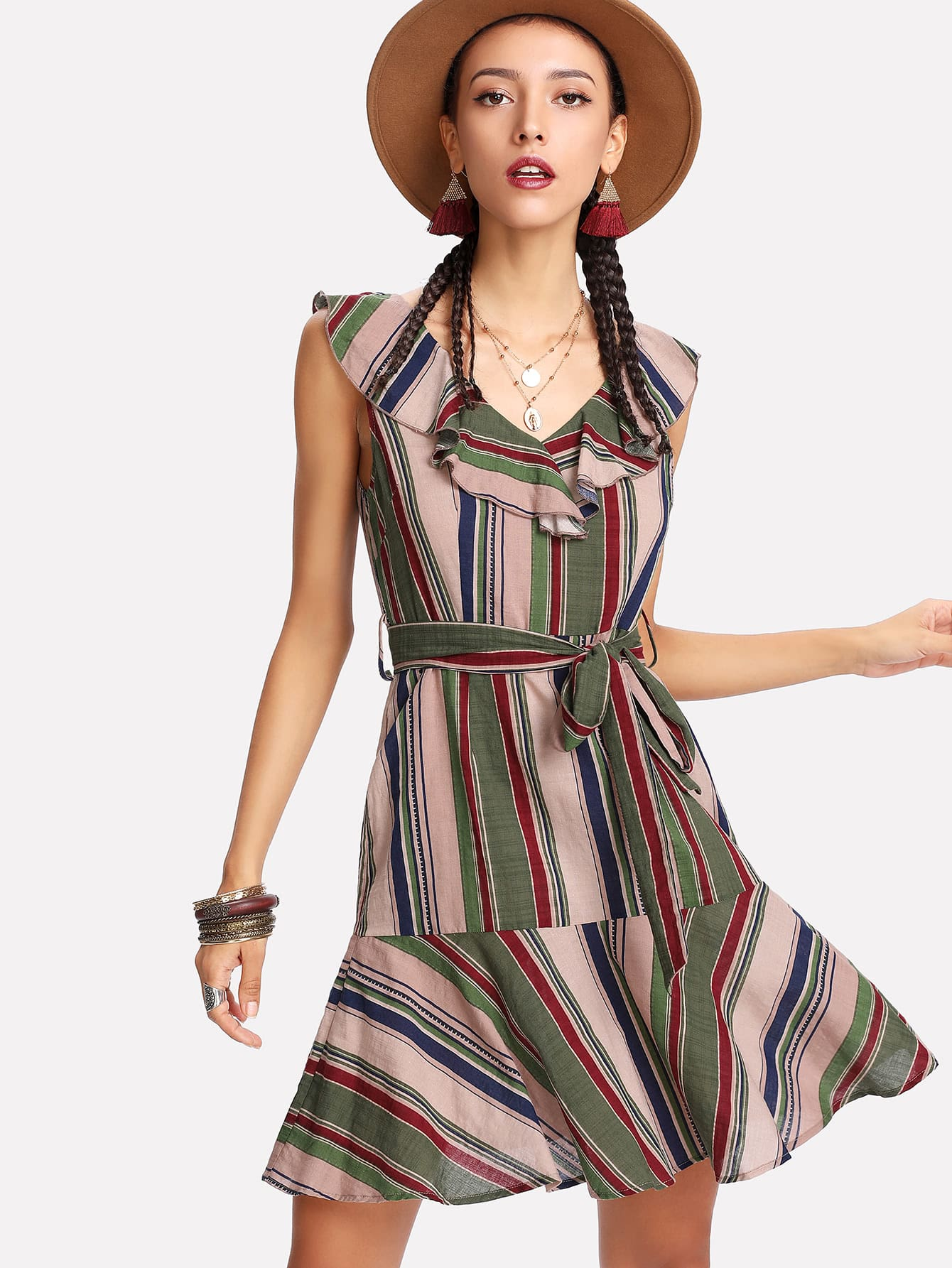 Ruffle Neck Self Belted Striped Dress ruffle waist belted peg pants