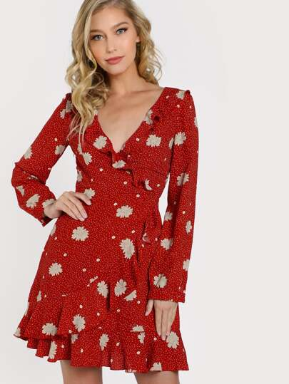 Fluted Sleeve Frilled Surplice Wrap Dress
