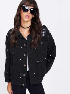 Pearl Beaded Ripped Jacket