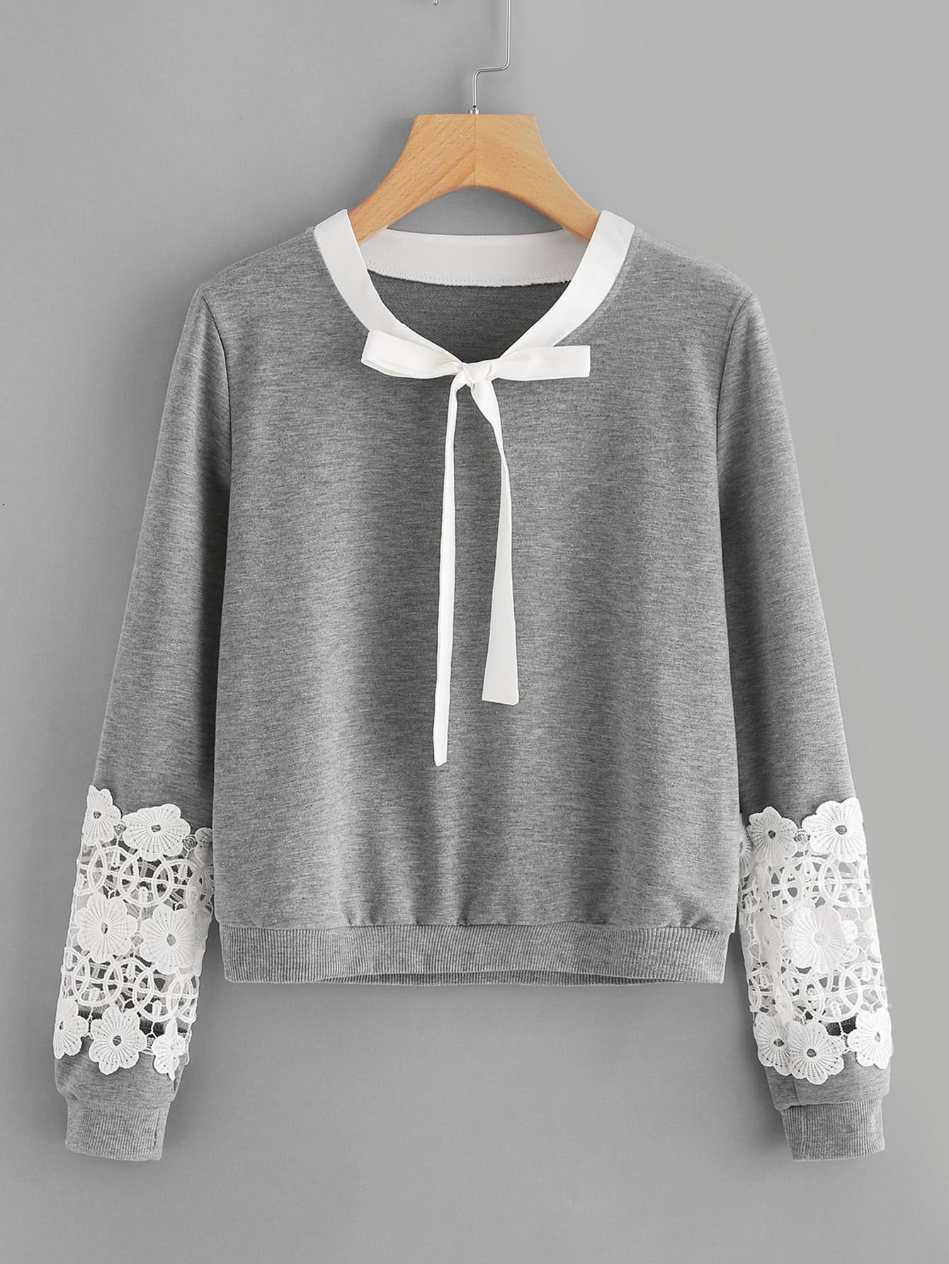 Contrast Crochet Bow Tie Neck Marled Sweatshirt bow tie front drop shoulder sweatshirt