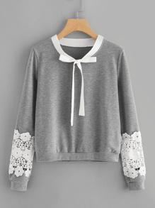 Sweat-shirt martelé contrasté en crochet avec nœud papillon