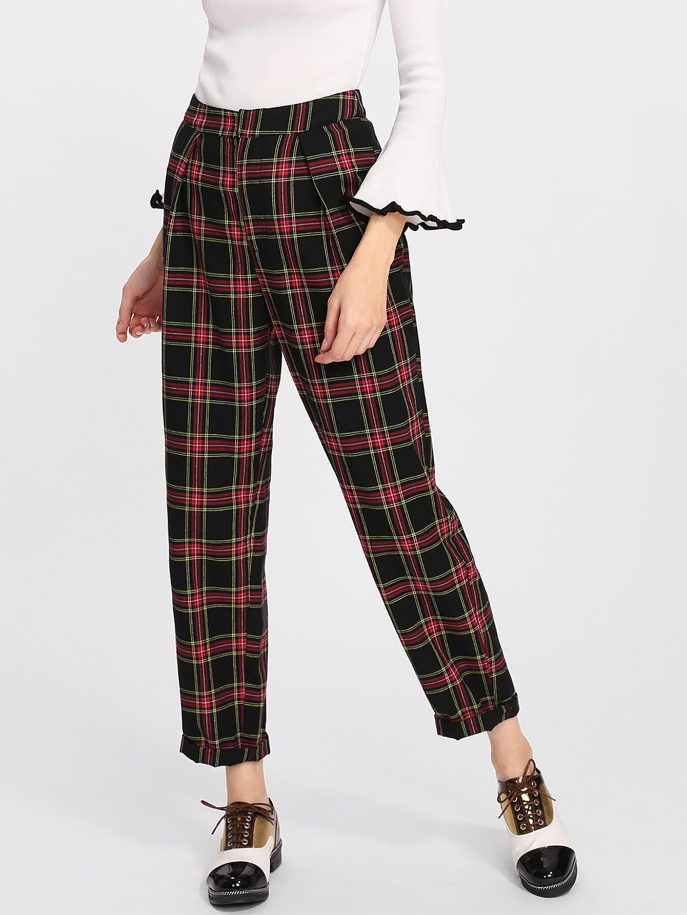 Rolled Up Hem Plaid Carrot Pants solid rolled hem pants