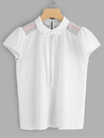 Ribbon Tie Neck Lace Shoulder Blouse