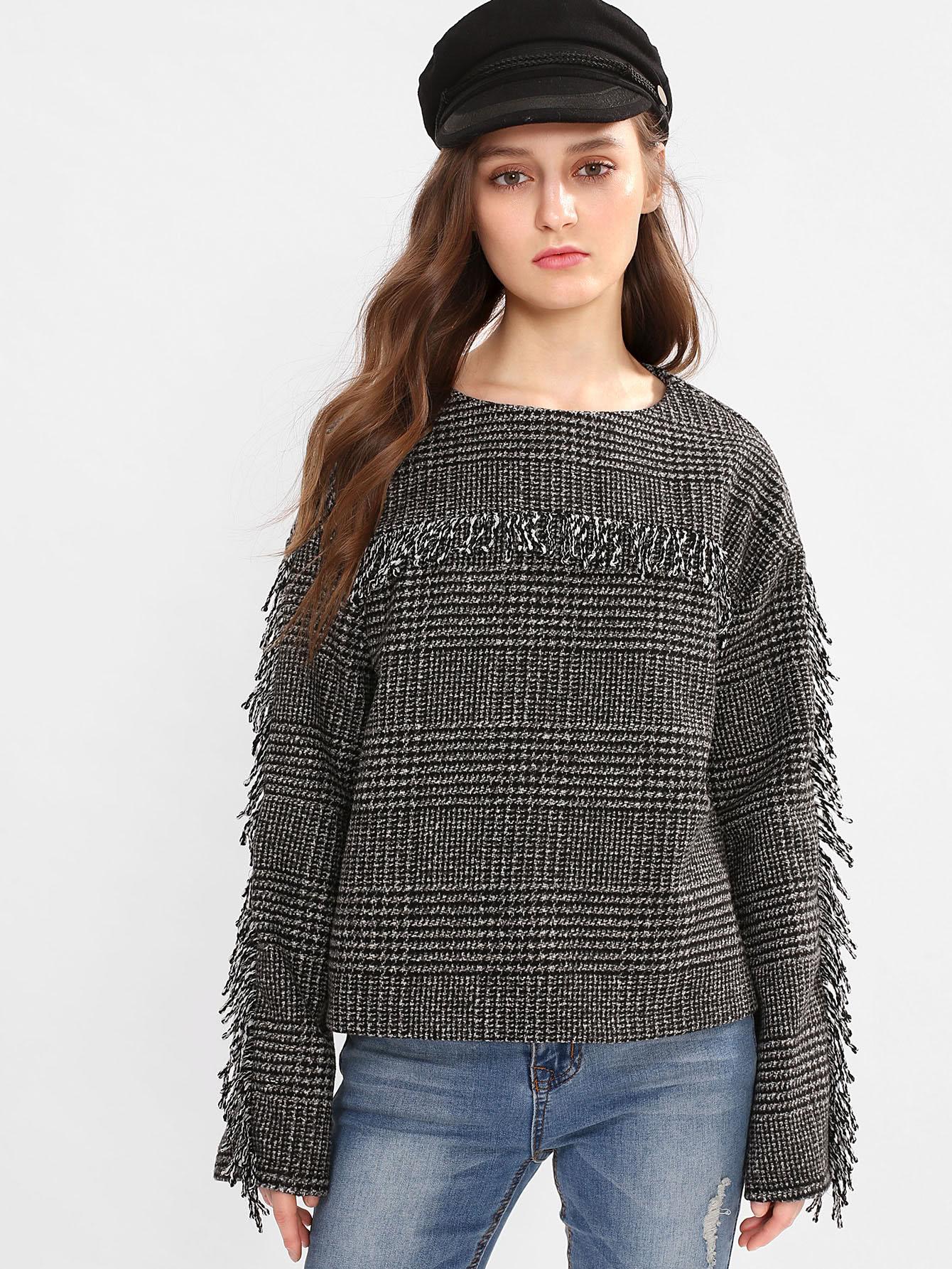Fringe Detail Tweed Sweatshirt lace trim fringe detail tweed top