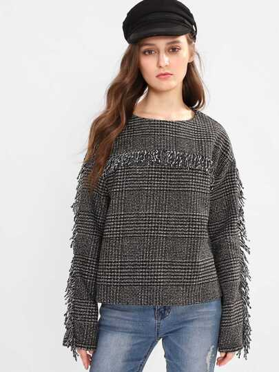 Fringe Detail Tweed Sweatshirt