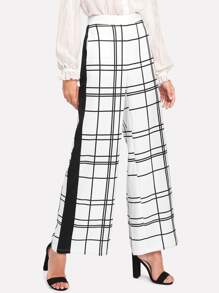 Panel Side Grid Palazzo Pants