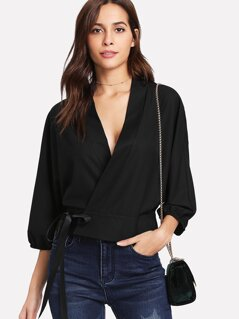 Dolman Sleeve Surplice Wrap Top