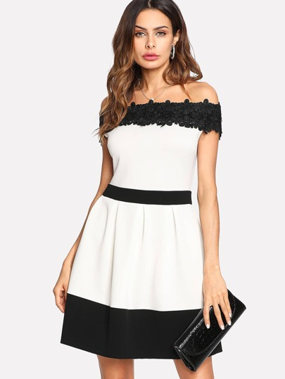 Daisy Lace Applique Two Tone Bardot Dress