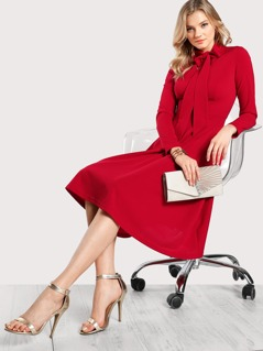 V Cut Tied Neck Fitted & Flared Dress