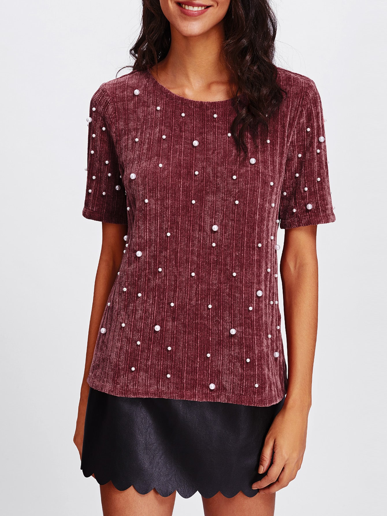 Pearl Embellished Ribbed Knit Tee tee171019703