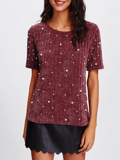 Pearl Embellished Ribbed Knit Tee