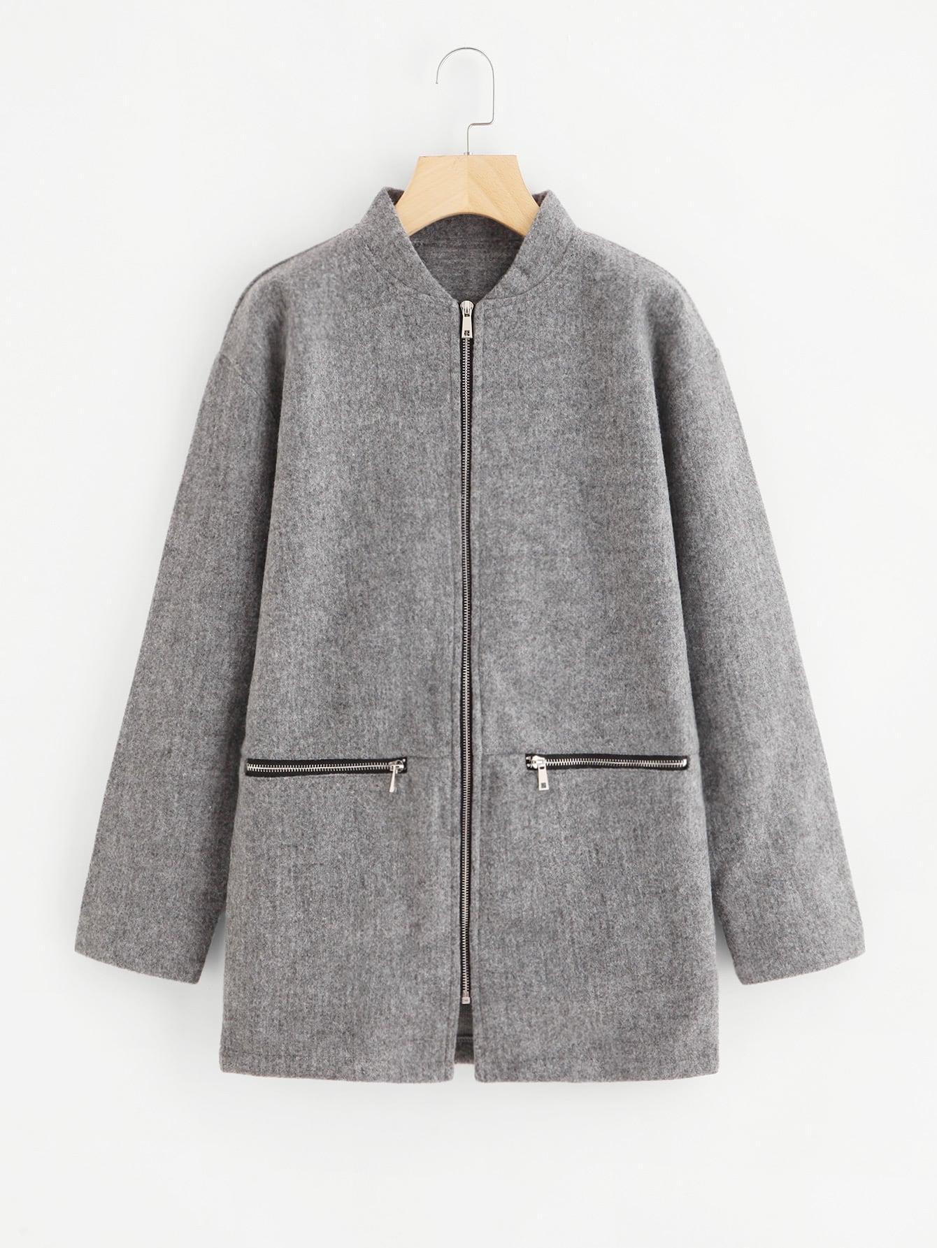 Drop Shoulder Zipper Tweed Coat two tone drop shoulder sweatshirt