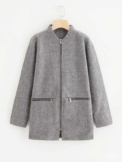 Drop Shoulder Zipper Tweed Coat