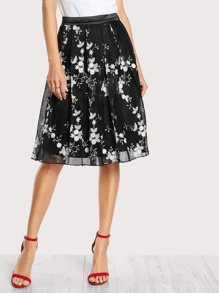 Embroidered Tulle Overlay Skirt
