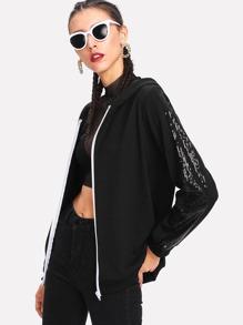 Sequin Panel Jersey Hoodie Jacket