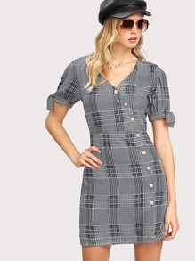 Tied Split Sleeve Pearl Button Plaid Dress