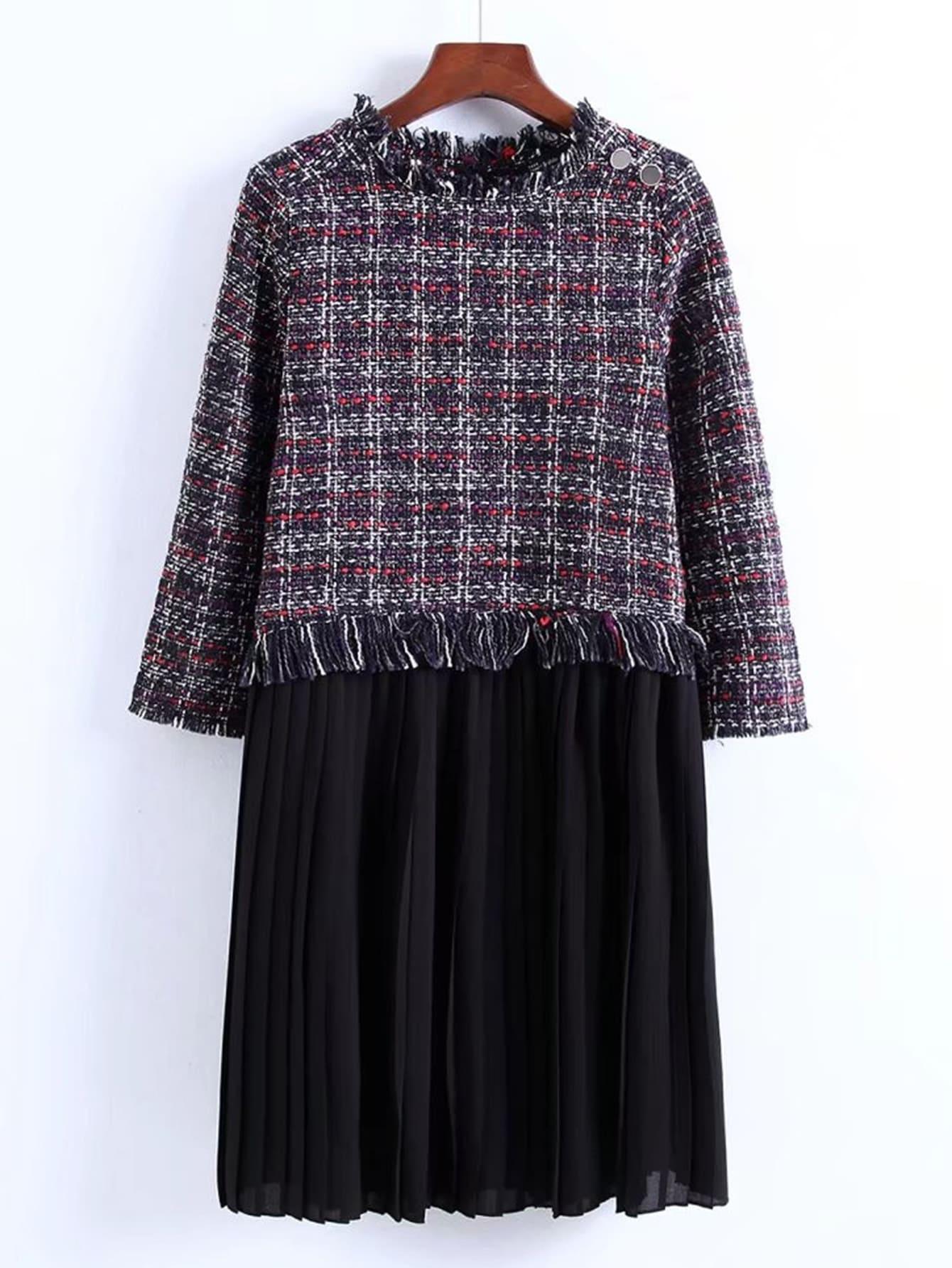 2 In 1 Tweed Pleated Dress