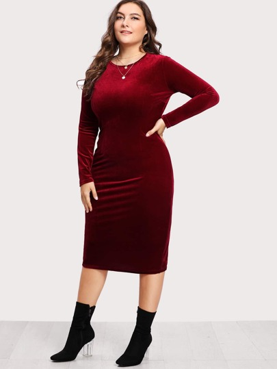 Split Back Velvet Dress
