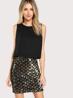 Sparkle Sequin Two Tone Blouson Combo Dress