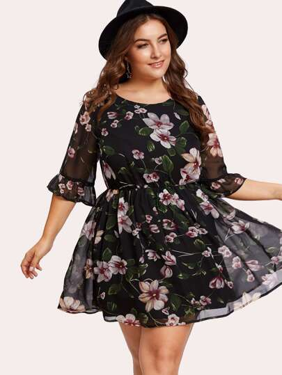 Trumpet Sleeve Floral Dress
