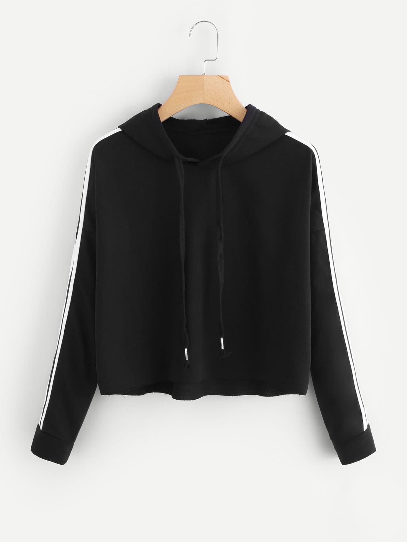 Tape Detail Drop Shoulder Raw Hem Hoodie metal grommet detail drop shoulder sweatshirt dress