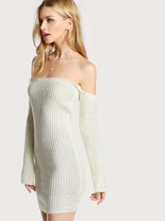 Off Shoulder Long Sleeve Sweater Dress WHITE