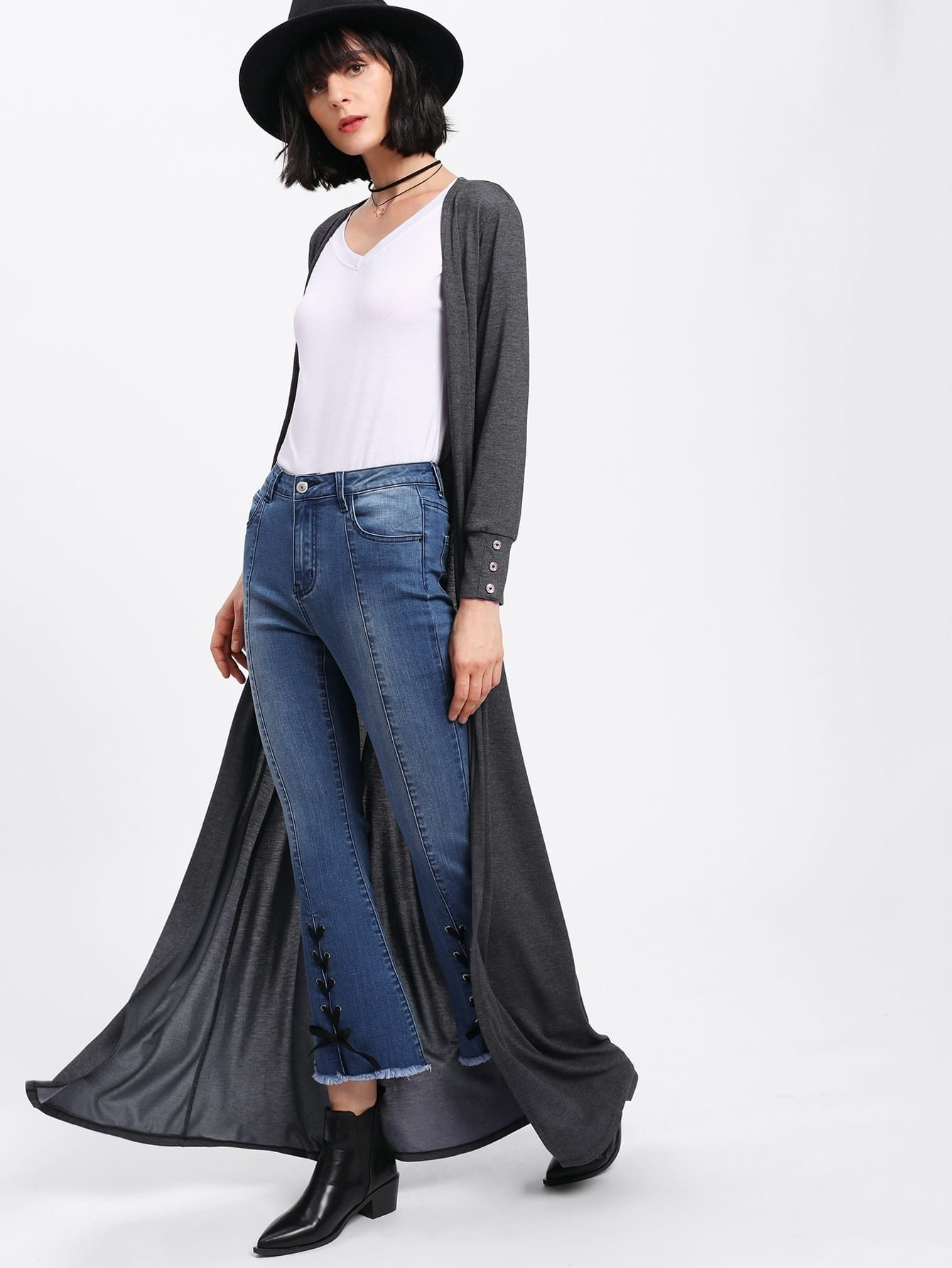 Buttoned Up Cuff Longline Duster Coat