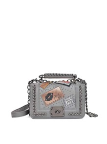 Studded Patch Detail Chain Decorated Flap Bag