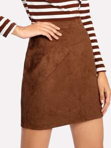 Zip Back Suede Skirt