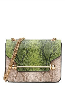 Color Block Snakeskin Print Chain Bag