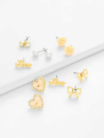 Rose & Bow Design Stud Earring Set