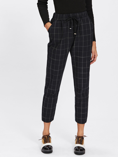 Drawstring Waist Plaid Crop Pants