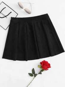 Box Pleated Zipper Side Suede Skirt