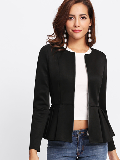 Zip Up Box Pleated Peplum Jacket
