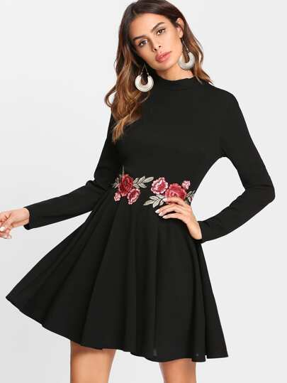 Embroidered Rose Applique Skater Dress