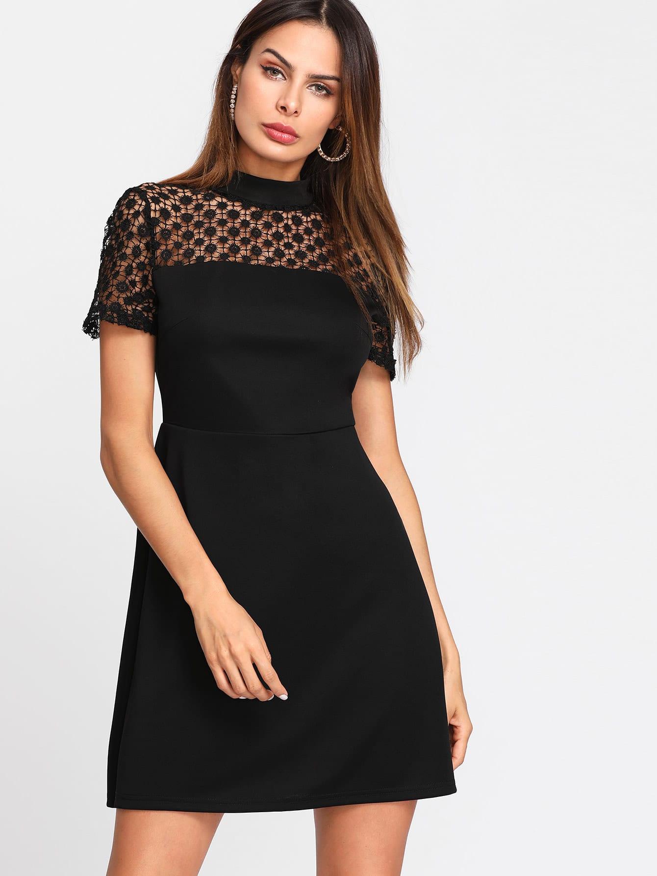 Floral Lace Yoke Dress lace panel yoke sweatshirt