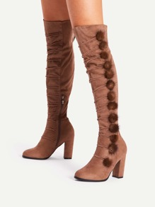 Pom Pom Side Block Heeled Knee Length Boots