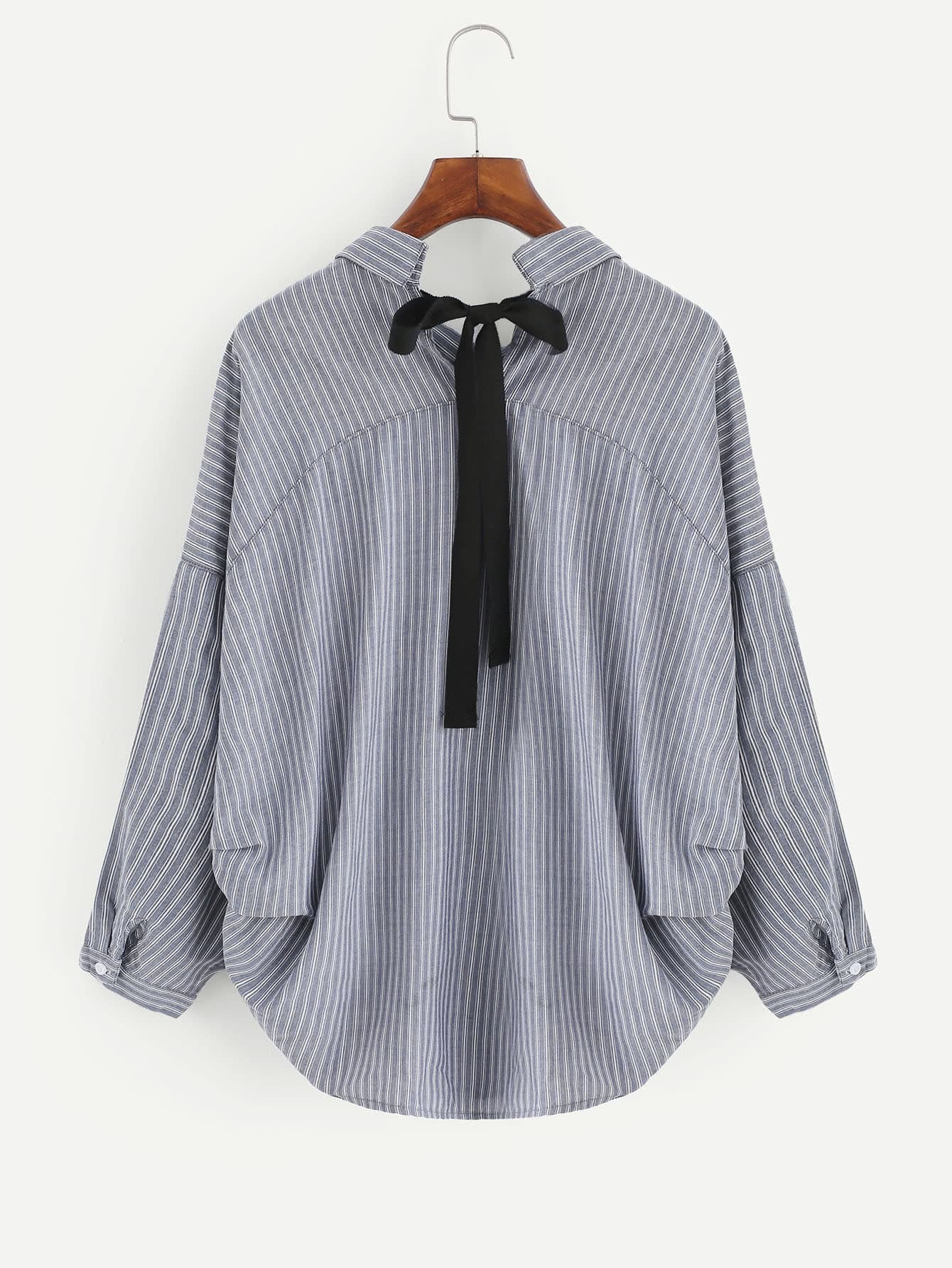 Contrast Bow Tie Dolphin Hem Striped Blouse contrast embroidered mesh yoke bow tie striped blouse