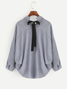 Contrast Bow Tie Dolphin Hem Striped Blouse