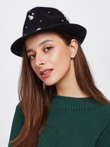 Faux Pearl & Studded Fedora Hat